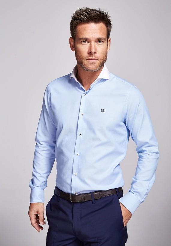 Camisa algodón celeste popelín
