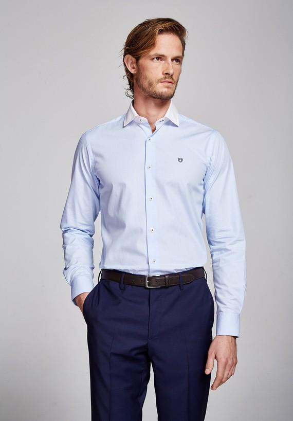 Camisa algodón Celeste Rayas
