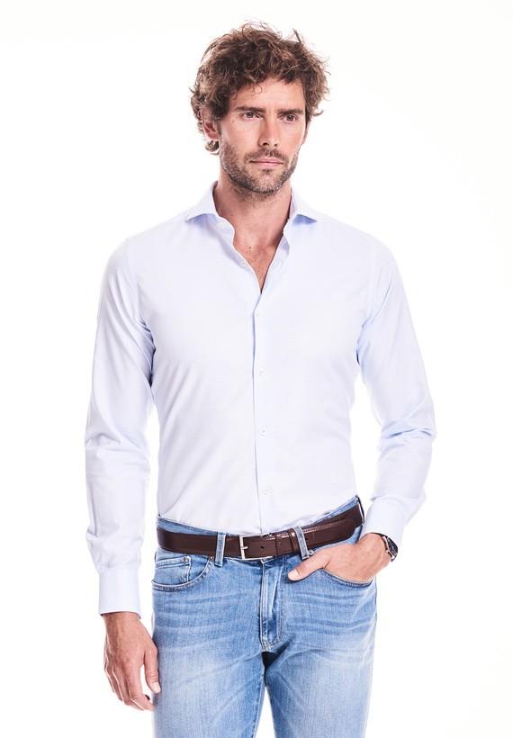 Camisas slim falso liso - Celeste