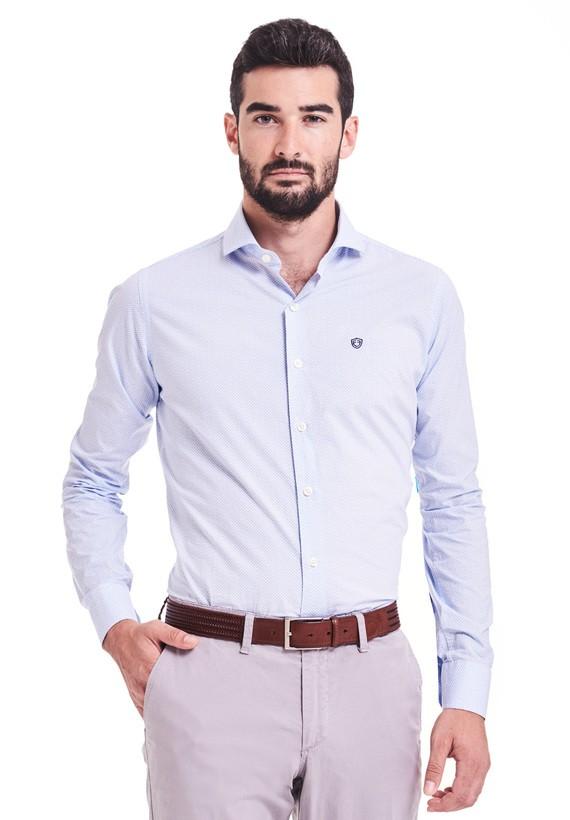 Camisa vestir estampada slim - Celeste