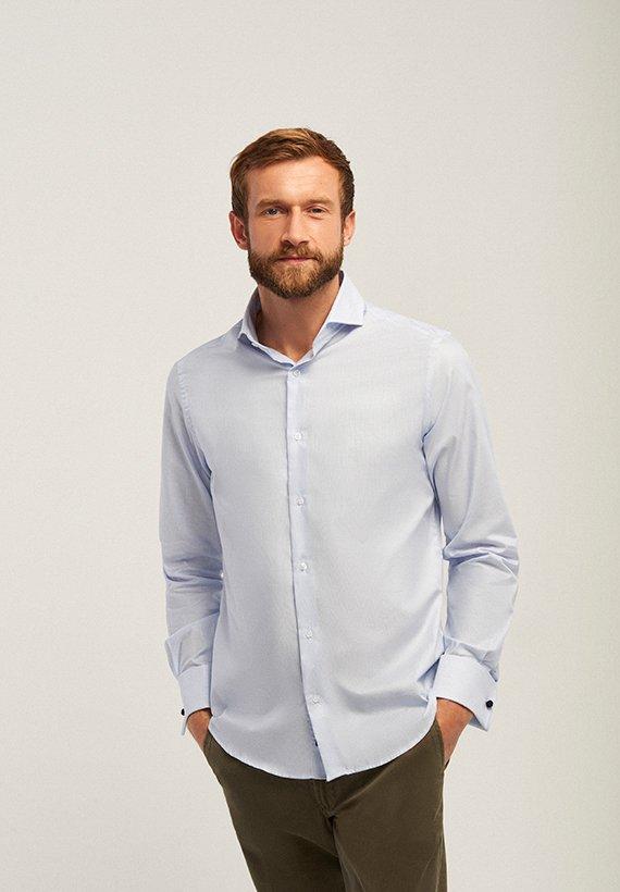 Camisa slim fit mil rayas - Celeste
