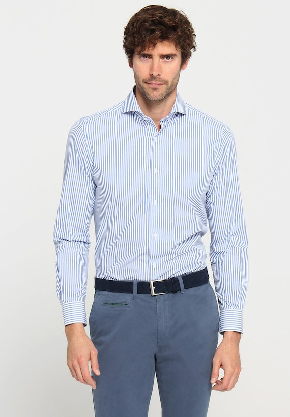 Camisa vestir rayas - Celeste