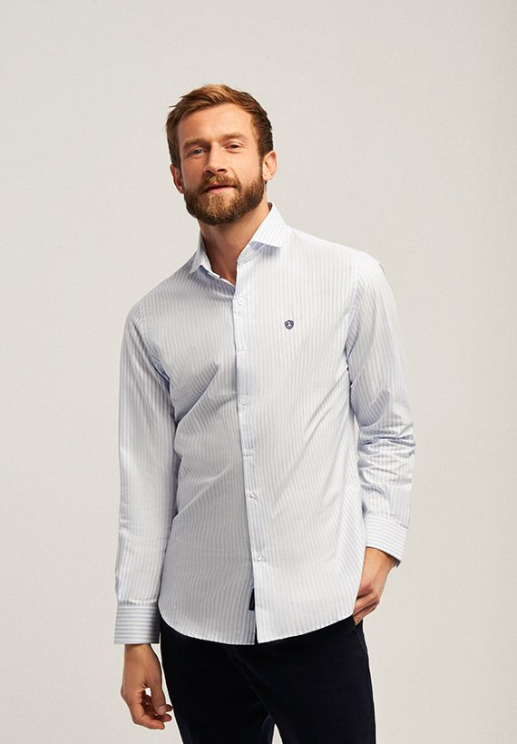 Camisa regular fit rayas - Celeste