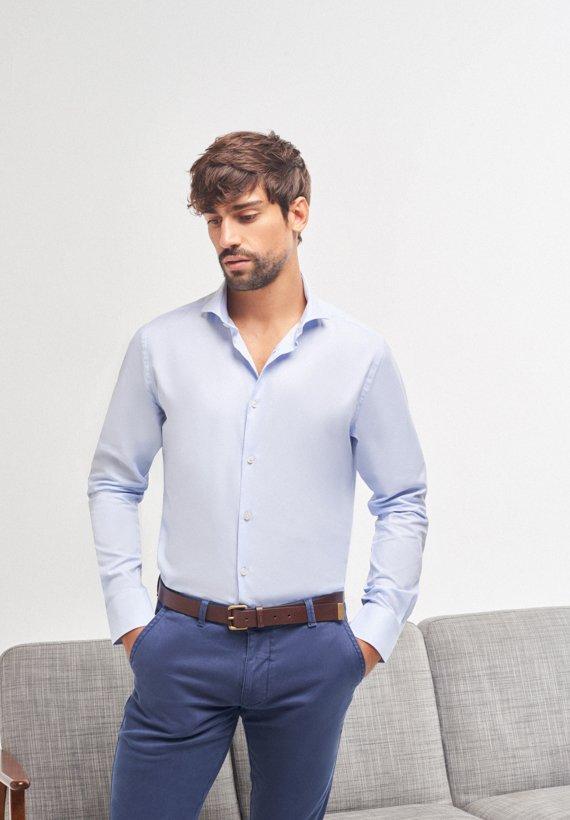 Camisa slim fit 100% algodón - Celeste