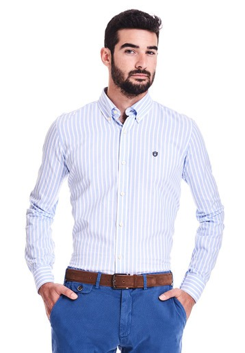 Camisa oxford rayas regular