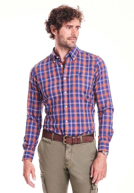 Camisa slim de cuadros en algodón lino