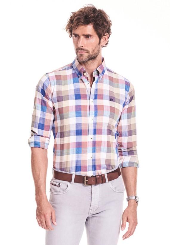 Camisa regular de cuadros algodón lino