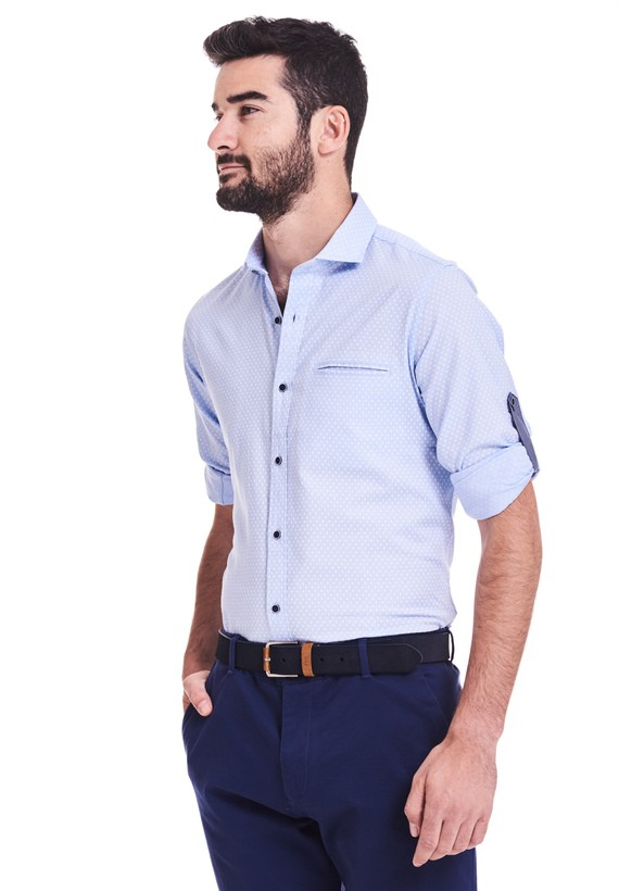Camisa oxford estampada slim