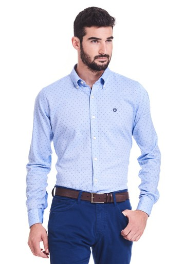 Camisa estampado oxford slim