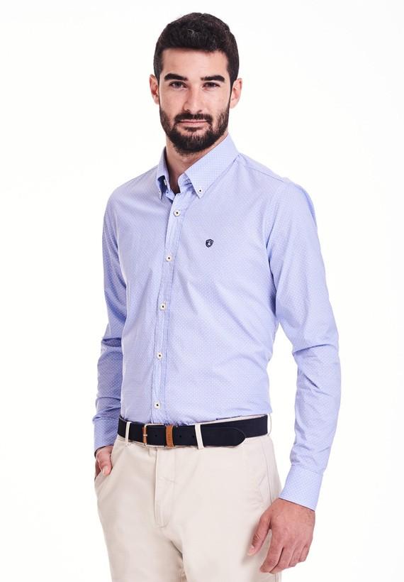 Camisa print geometrico regular - Celeste