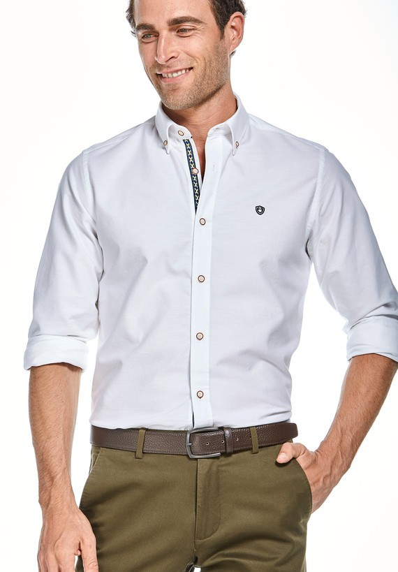 Camisa lisa oxford slim