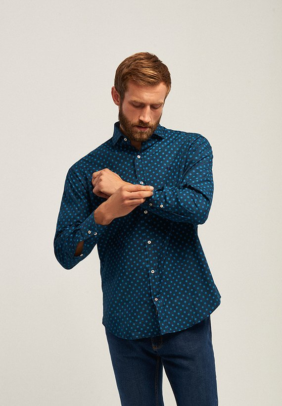 Camisa slim fit estampado floral - Azul