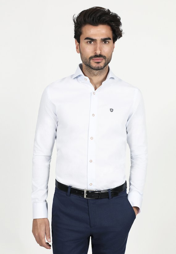 Camisa slim fit falso liso - Celeste