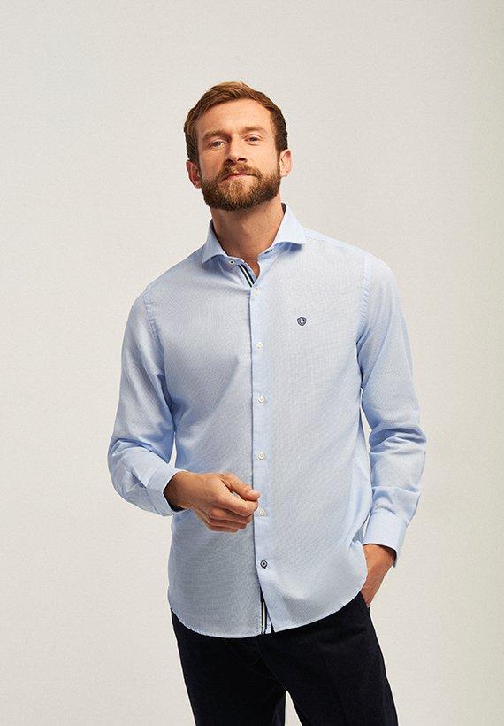 Camisa slim fit microestructura - Celeste