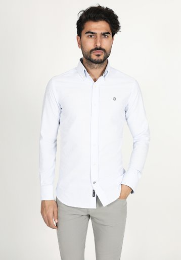 Camisa regular fit de rayas oxford con contraste