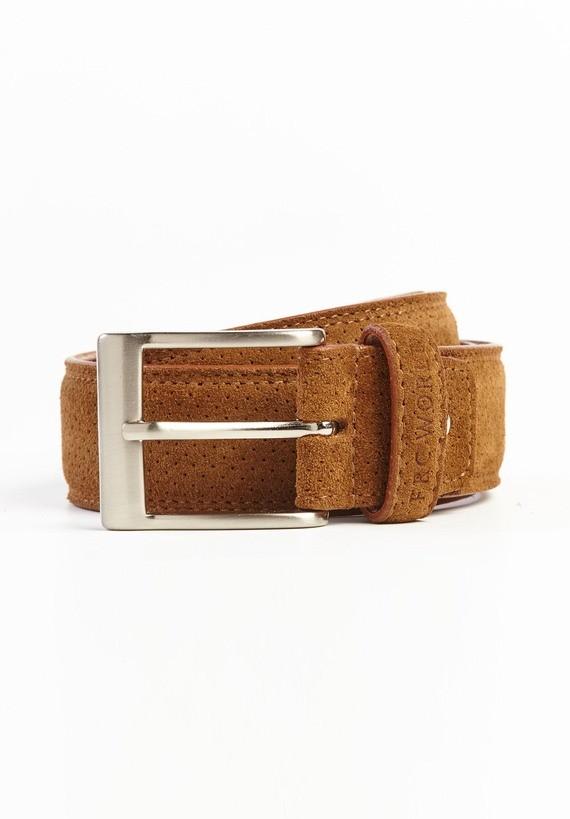 Cinturón serraje perforado - Camel