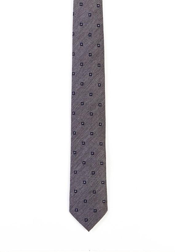 Corbata gris cuadrilé diagonal y cuadros