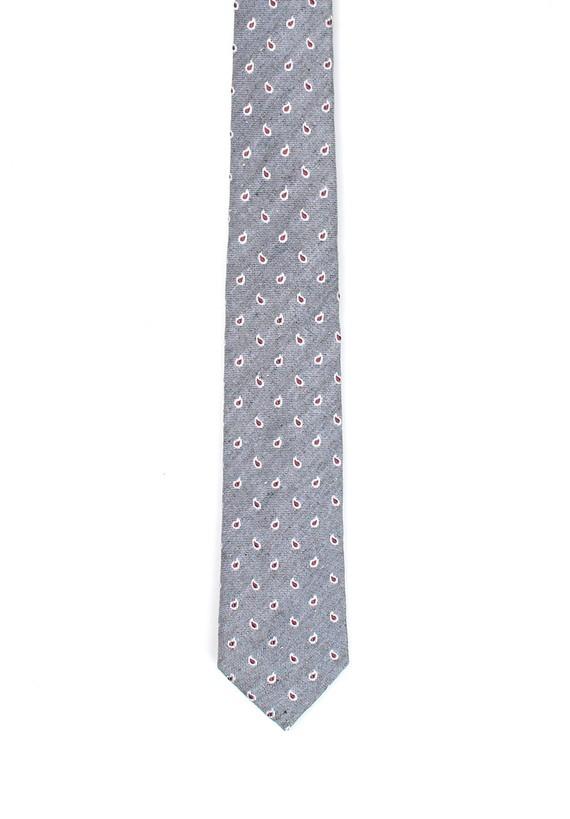 Corbata de seda y lino paisley - Gris