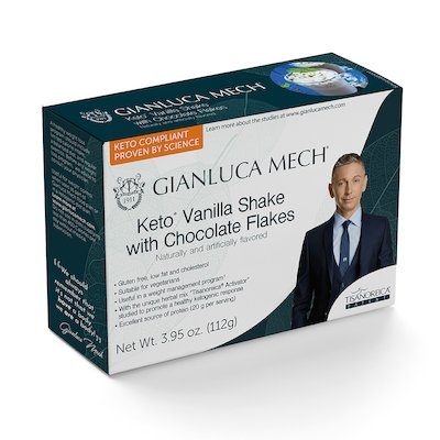 KETO VANILLA SHAKE WITH CHOCOLATE FLAKES