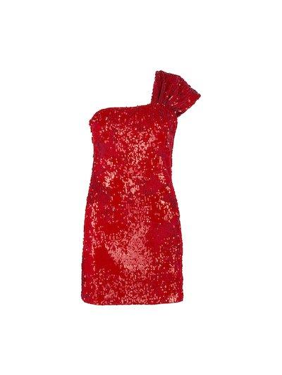 Single shoulder mini dress with paillettes