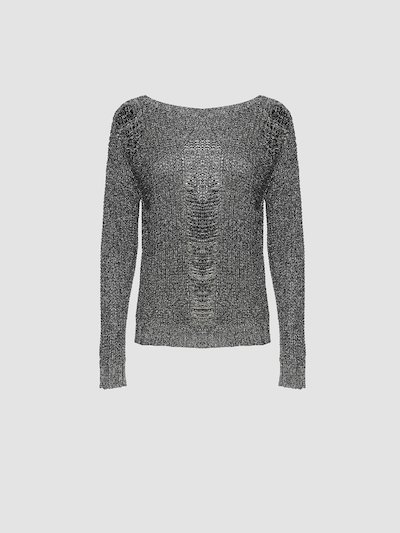 Perforated sweater with long sleeves