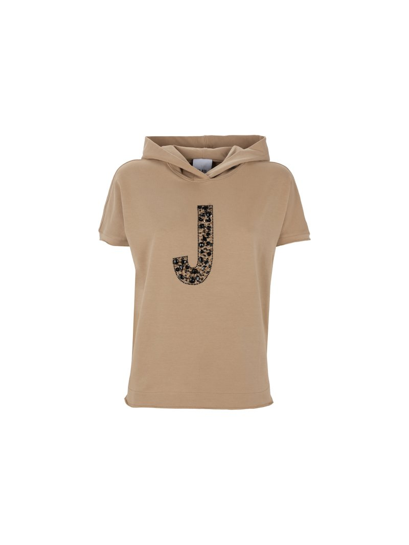 Short sleeved hoodie with jewelled maxilogo