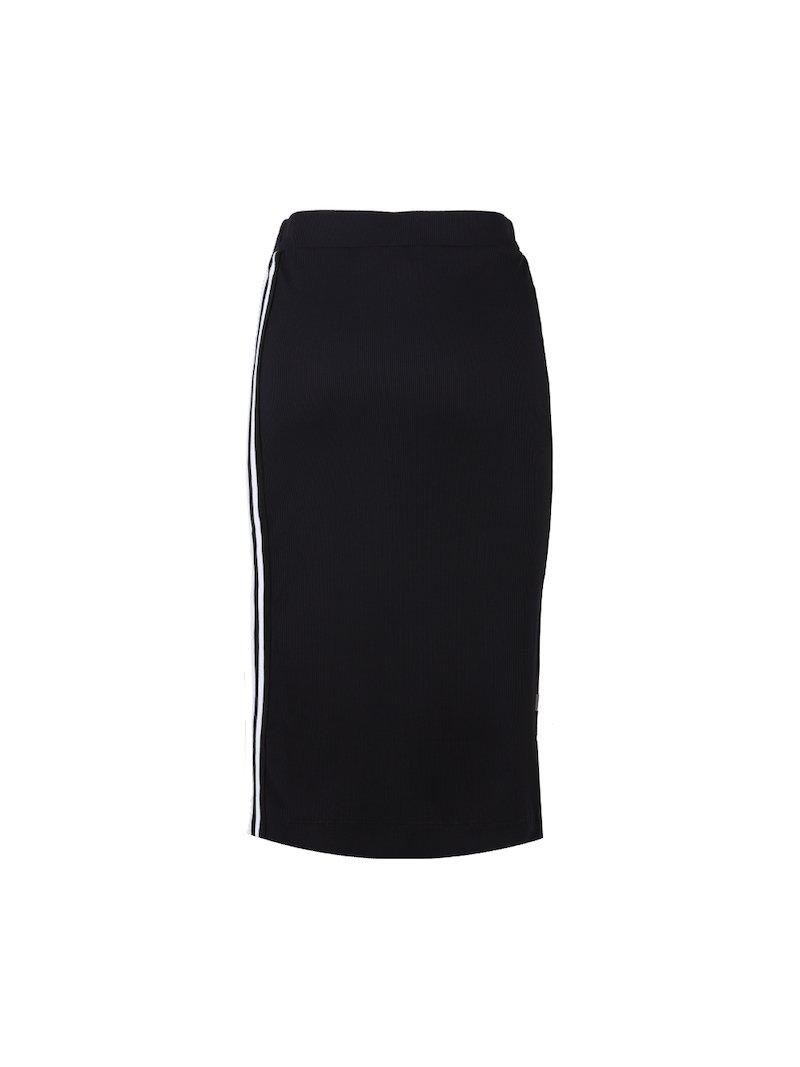 Black midi skirt in stretch fabric