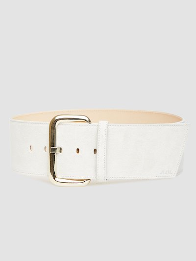 Leather belt with light gold buckle closure