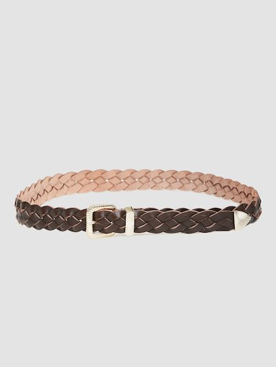Braided belt with light gold buckle