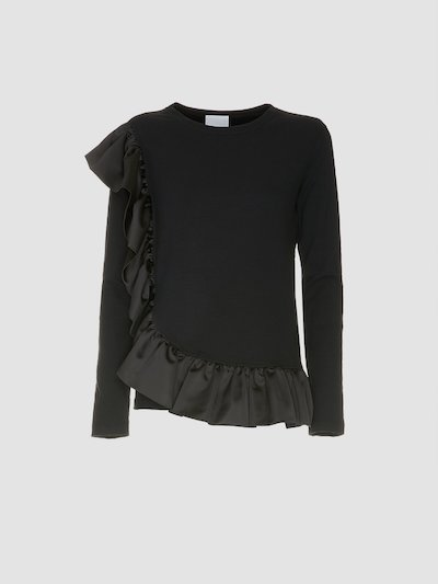 Black colored sweatshirt with ruffles