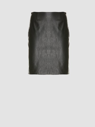 Leather effect mini-skirt with side bands