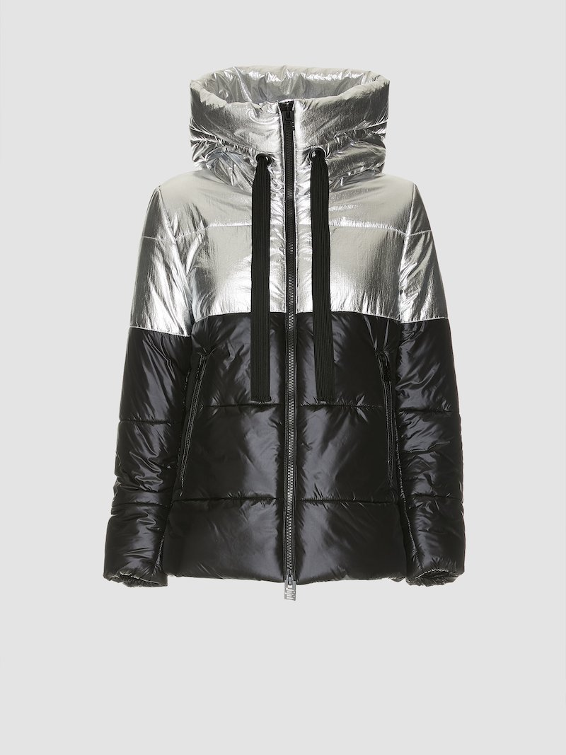Two-tone silver/black quilted jacket