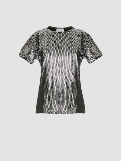 T-shirt nera e argento