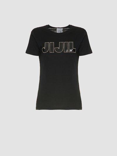 T-shirt nera con logo Jijil