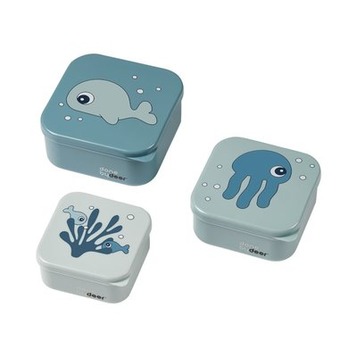 Done By Deer 3 Snack Boxes Sea Friends - Blue