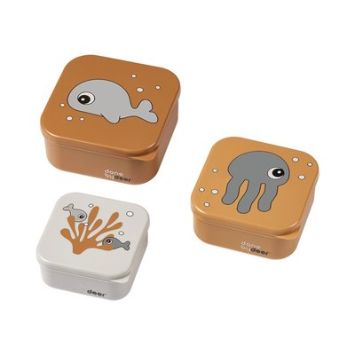 Done By Deer 3 Snack Boxes Sea Friends - Mustard