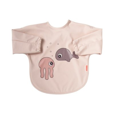 Done By Deer 6-18M Sleeved Bib Sea Friends - Powder