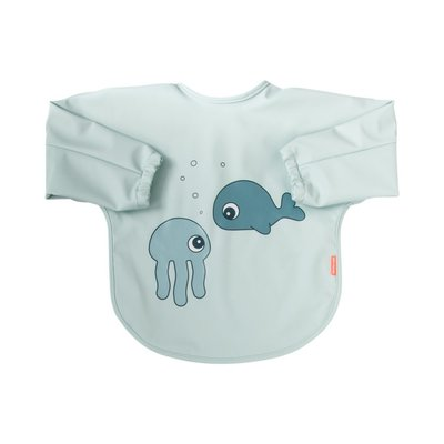 Done By Deer 6-18M Sleeved Bib Sea Friends - Blue