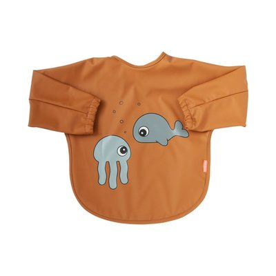 Done By Deer 6-18M Sleeved Bib Sea Friends - Mustard