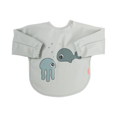 Done by Deer 6-18M Sleeve Bib Sea Friends - Grey