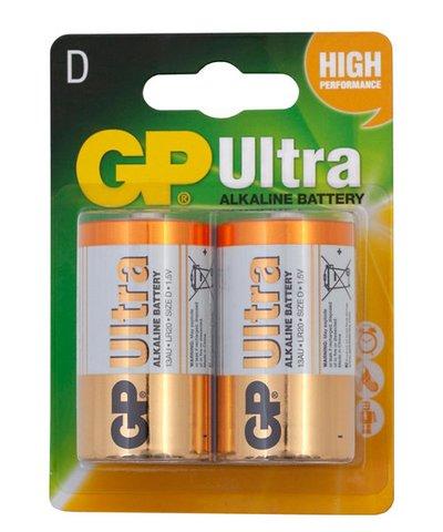 GP Ultra Alkaline D Batteries - 2 Pack