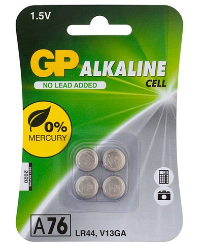 GP Alkaline Button A76 (LR44) Batteries - Card of 4