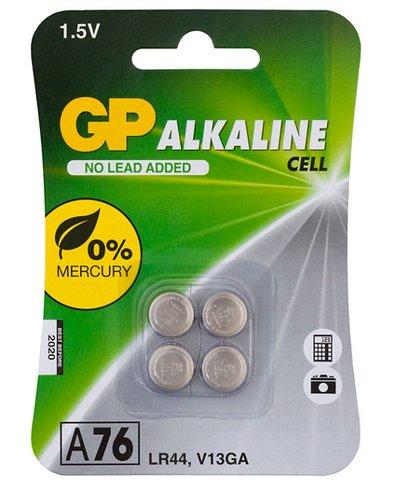 GP Alkaline Button A76 (LR44) Batteries - Card of 4