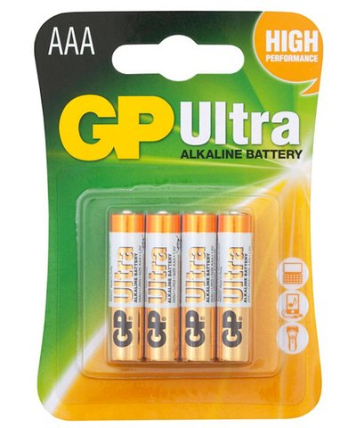 GP Ultra Alkaline AAA Batteries - 4 Pack