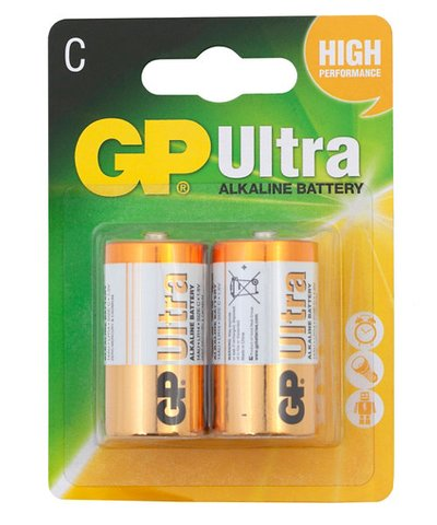 GP Ultra Alkaline C Batteries - 2 Pack