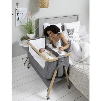 Tutti Bambini CoZee Air Bedside Crib – Oak and Charcoal
