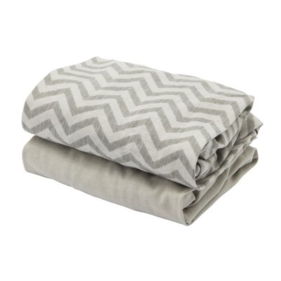 Tutti Bambini CoZee Fitted Sheets Twin Pack - Chevron/Grey