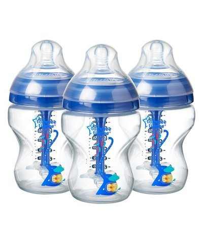 Tommee Tippee Advanced Anti-Colic 260ml Baby Bottles 3 Pk - Blue