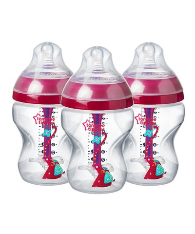 Tommee Tippee 260ml Advanced Anti-Colic Bottles 3 Pk - Pink