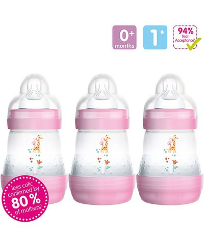 Mam Anti-Colic 160ml Bottle - 3 Pack - Pink
